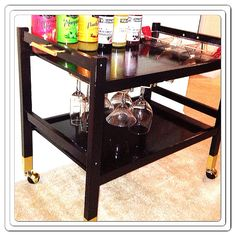 Black and Gold Bar Cart by MylesPBoutique on Etsy, $135.00