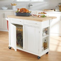 Decoration Kitchen - Our new kitchen cart! Real Simple® Kitchen Island in White - BedBa. Rolling Kitchen Island, White Kitchen Island, Kitchen Island With Seating, Small Kitchen Islands, Moveable Kitchen Island, White Kitchen Cart, New Kitchen, Kitchen Decor, Kitchen Ideas