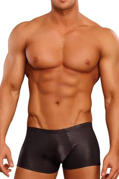 Dress to kill in Black Cobra, a unique line of jocks, mini shorts and micro g-strings.  This collection truly captures the cool, sinewy look of black snakeskin using soft and stretchy nylon/spandex topped with a comfortable elastic waist. A unique line of jocks, mini shorts and micro g-strings