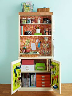 Storage I like the idea of converting a bookcase in to craft storage. Especially for scrapbooking supplies!Crafts Storage I like the idea of converting a bookcase in to craft storage. Especially for scrapbooking supplies! Scrapbook Storage, Scrapbook Organization, Small Space Organization, Craft Organization, Scrapbook Supplies, Craft Supplies, Scrapbooking, Organizing Crafts, Scrapbook Rooms