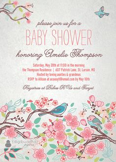 Bloom Bird Printed Baby Shower Invitation, Garden Tree Floral Baby Girl Shower, Rose Flower Pink Gray Invite with Envelopes - Amelie Baby Shower Niño, Baby Shower Invites For Girl, Baby Shower Cakes, Baby Shower Themes, Baby Boy Shower, Shower Ideas, Shower Rose, Tarjetas Baby Shower Niña, Invitaciones Baby Shower Niña