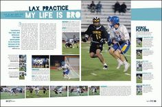 yearbook spread-LAX page Middle School Yearbook, Yearbook Class, Yearbook Pages, Yearbook Covers, Yearbook Theme, Graphic Design Brochure, Corporate Brochure Design, Brochure Layout, Brochure Template