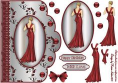 Art Deco Lady in Red n Lace Scallop Card Front on Craftsuprint designed by Karen Adair - This is a beautiful scalloped edge card front, with a cameo topper of a vintage fashion model, and decoupage is included to add depth and dimension to your finished card. Two greetings banners are included. If you like this check out my other designs, just click on my name. - Now available for download!