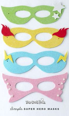 simple superhero masks with printable template - easy DIY for kids' dress-up play or Halloween costumes
