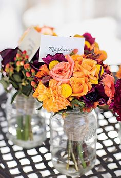 Brides: Rustic Rose and Dahlia Wedding Bouquets. Before the ceremony, Mason jars held the bridal party's rose-�and�-dahlia bouquets.
