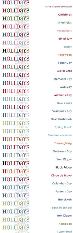 This is a website dedicated to Holidays! Great resource for not just food and parties, but also CLASSROOM ideas!! Too cool! :-)