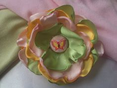 Lime Green Satin Hot Pink Sheer and Yellow by ChristyHairCreations