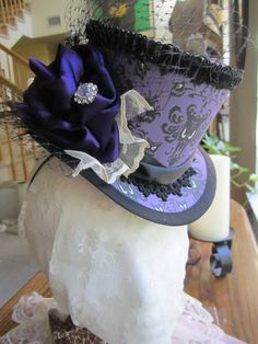 Custom orders welcome, Haunted Mansion,  Steampunk, Victorian, Gothic, Mini Top Hat $95.00