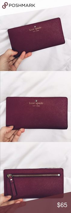 Shop Women's kate spade Red Pink size OS Wallets at a discounted price at Poshmark. Has been used, still in good condition! Kate Spade Handbags, Kate Spade Wallet, Kate Spade Purse, Fashion Handbags, Purses And Handbags, Fashion Bags, Designer Wallets, Small Leather Goods, Cute Bags