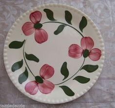 Blue Ridge Pottery Plato de ensalada ~ Rosa Roja patrón