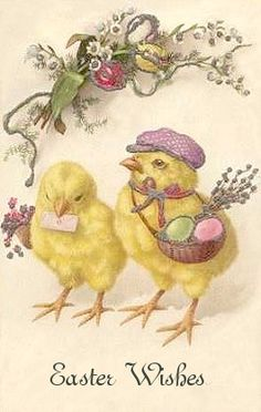 vintage Easter cute chicks in hat with eggs Easter Art, Hoppy Easter, Easter Crafts, Easter Bunny, Easter Chick, Vintage Easter, Vintage Holiday, Decoupage, Easter Wishes