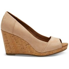 TOMS Sandstorm Nubuck Stella Women's Wedges ($89) ❤ liked on Polyvore featuring shoes, sandstorm, nubuck shoes, evening shoes, wedge heel shoes, high heel wedge shoes and cork wedge shoes