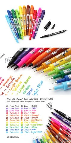 The Pilot Oil-Based Twin Markers write on all sorts of media, including paper… Adult Coloring Pages, Coloring Books, School Supplies, Art Supplies, Craft Robo, Jet Pens, Tampons, Pen And Paper, Copics