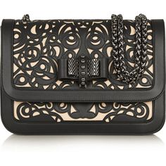 Christian Louboutin Sweet Charity laser-cut leather shoulder bag ($1,935) ❤ liked on Polyvore featuring bags, handbags, shoulder bags, leather shoulder bag, man bag, studded shoulder bag, hand bags and handbags purses
