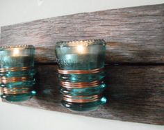 year-old barn wood glass teal telephone / electrical insulator double candle holder. by FoxVintageandAntique on Etsy Electric Insulators, Insulator Lights, Glass Insulators, Barn Wood Crafts, Old Barn Wood, Salvaged Wood, Small Space Interior Design, Wood Candle Holders, Wood Glass