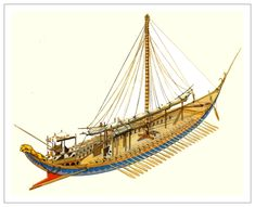 Minoan galley reconstruction based on frescoes from Akrotiri (Thera)