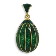 Buy Green Striped Russian Royal Faberge Egg Pendant Necklace 19