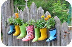 Rainboot planters!