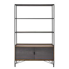 Metal bookcase in black W 120cm