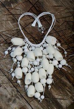 Wedding jewelry set Silk Bridal necklace silk by HandStudioUA