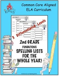 Differentiated and Common Core aligned weekly spelling lists for the entire second grade year! First level . 2nd Grade Spelling, 2nd Grade Ela, Spelling Lists, Second Grade Teacher, Spelling Words, Spelling Homework, Grade 1, Word Study, Word Work