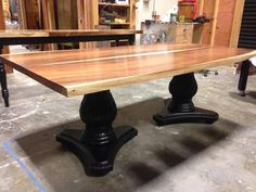 Live Edge Walnut Dining Table With Double Pedestal Base Live Edge - Conference table pedestal base