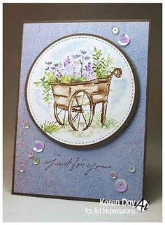 Art-Impressions-Watercolor-Cling-Stamp-Set-Foliage-Flowers-Basket-Cart-Bridge