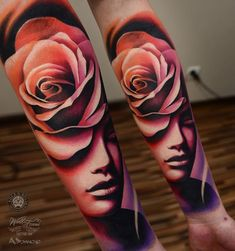 Reminds me of a drawing I did in High School. Abstract Rose & Face Forearm Tattoo | Best Tattoo Ideas & Designs