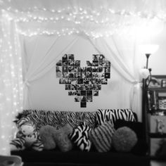 Billowed sheer fabric and strung lights to create a relaxed, cozy corner. Perfect for a teen girl room. So cute and fun!