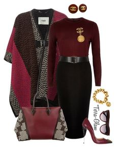 """Burgundy Babe"" by terra-glam ❤ liked on Polyvore featuring Fendi, River Island, Louis Vuitton, Christian Louboutin, Chanel, Valentino, women's clothing, women's fashion, women and female"