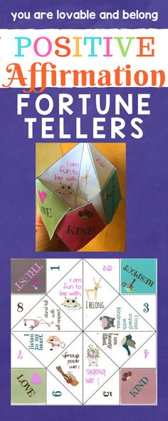 Positive Affirmation Fortune Tellers. Fun paper craft for school counseling self-esteem and friendship groups.