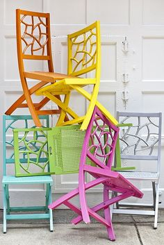 I'm loving the Fifi chairs by Society Social as a colorful desk chair in a girl's room. The fold up nicely for storage and come in 13 co. Colorful Desk, Colorful Chairs, Colorful Garden, Funky Chairs, Vintage Chairs, Painted Wood Chairs, Painted Furniture, Painted Wicker, Painted Tables