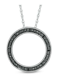 Zales Enhanced Black Diamond Accent Beaded H Circle Pendant in Sterling Silver IaSYPKuB