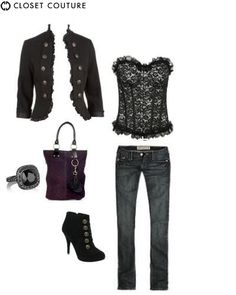 Jeans & corset with french military style!  Don't be afraid to mix up eras !!!