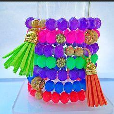 Neon Stack bracelets. jewelry
