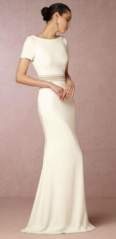 Short sleeve sleek wedding dress. New wedding dresses from BHLDN. Alice Gown.
