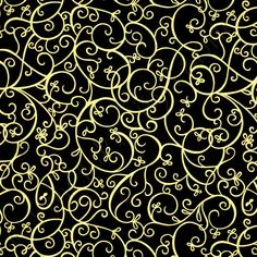 Timeless Treasures Shimmer Scroll Black Gold Metallic