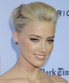 Amber Heard Attractive Updo Hair