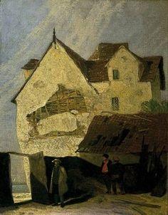 JOHN SELL COTMAN   WATERCOLOR Old houses at Gorleston