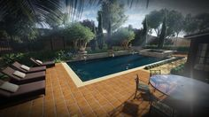 AMS Landscape Design Studios, Inc. Pool Overview - afternoon study