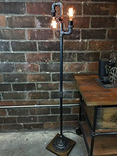 Items similar to Multi Bulb Edison Floor Lamp - Industrial Style - Bare Bulb Light - Steampunk Lamps on Etsy Diy Floor Lamp, Decorative Floor Lamps, Industrial Style Floor Lamp, Luminaire Original, Lampe Tube, Cabin Lighting, Steampunk Lamp, Pipe Lamp, Home Decor Ideas