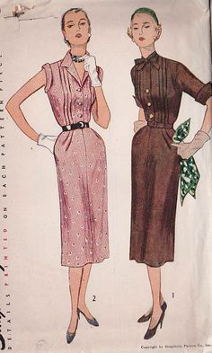UNCUT Vintage 50s Sewing Pattern Tuxedo SHIRTWAIST DRESS by HoneymoonBus, $9.99