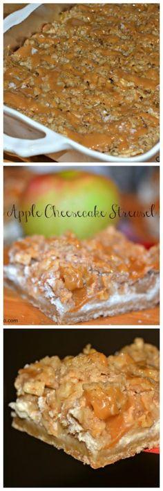 Caramel Apple Cheesecake Streusel Bars - Hugs and Cookies XOXO