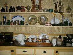 Kitchen, Point Ellice House Historic Site, Victoria B.C. A built in range was used for food preparation and heating. House was lived in by the same family from 1860's through 1960's.
