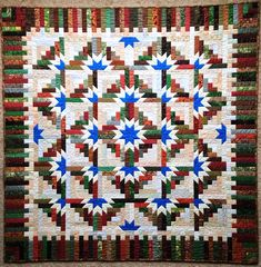 Timberline Log Cabin quilt made by Sally Yakish of Waterloo, IA,  from the original pattern in Judy Martin's Log Cabin Quilt Book.