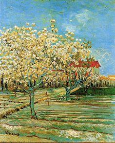 ARLES april 1888 / Boomgaard en huis met oranje dak / Van Gogh