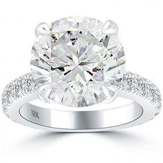 9.06 Carat F-I1 Certified Natural Round Diamond Engagement Ring 18k White Gold - Thumbnail 1
