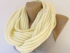 ivory knitted scarf, infinity scarves,eternity scarf , women scarf, men scarf , winter scarf