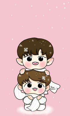 Chanbaek Fanart, Exo Chanbaek, Exo Fan Art, Chanyeol, Chibi, Hello Kitty, Kpop, Wattpad, Cute