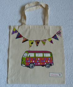Spot Applique VW Camper Van and Bunting Cotton Canvas Bag with Short Handles £6.00